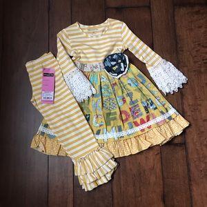 Mustard Pie Alphabet Dress and pants-4T